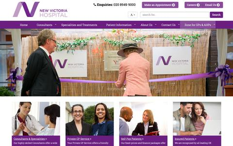 Screenshot of Home Page newvictoria.co.uk - New Victoria Hospital | First Class Private Hospital In London - captured Oct. 18, 2018