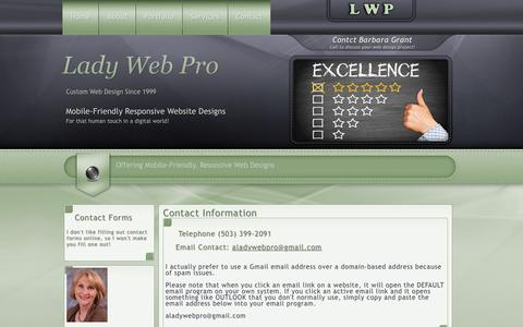Screenshot of Contact Page Maps & Directions Page ladywebpro.com - Contact Lady Web Pro Salem Oregon Web Designer - captured March 7, 2016