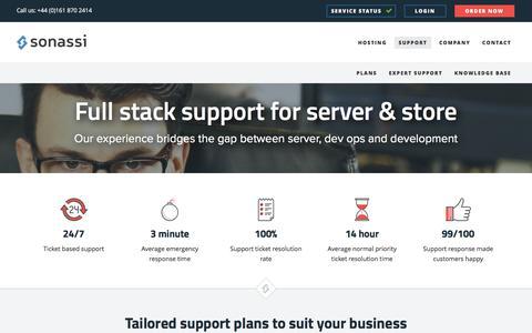Screenshot of Support Page sonassi.com - Support | Magento Hosting by Sonassi - captured Nov. 21, 2015