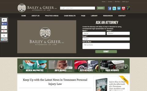 Screenshot of Press Page baileygreer.com - Personal Injury Law | Recent News | Tennessee Personal Injury Lawyer | Bailey & Greer PLLC - captured Oct. 5, 2014