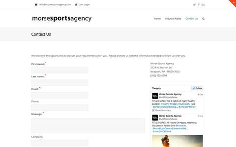 Screenshot of Contact Page morsesportsagency.com - Contact Us | Morse Sports Agency - captured Nov. 3, 2014