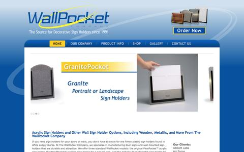 Screenshot of Home Page wallpocketcompany.com - Wall Mounted Sign Holders | Acrylic Sign Holder | Door Signs - captured April 10, 2017