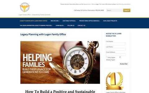 Screenshot of Home Page lugenfamilyoffice.com - Legacy Planning With Lugen Family Office | Lugen Family Office - captured Jan. 14, 2016
