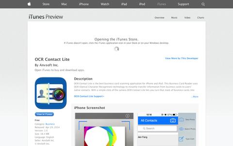 Screenshot of iOS App Page apple.com - OCR Contact Lite on the App Store on iTunes - captured Oct. 23, 2014