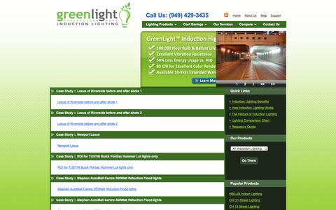 Screenshot of Case Studies Page greenlightinduction.com - GreenLight Induction Lighting | Ultra High-Efficiency Commercial Lighting Systems - captured Feb. 2, 2016