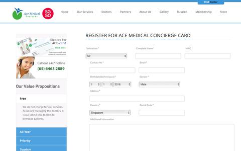 Screenshot of Signup Page acemedical.com.sg - Register | Ace Medical Services | One-stop Medical Partner in Asia - captured Feb. 5, 2016