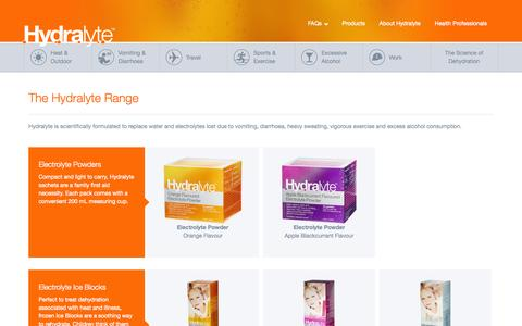 Screenshot of Products Page hydralyte.com.au - Electrolyte Products, Electrolyte Supplements, Electrolyte Tablets | Hydralyte - captured Sept. 23, 2014