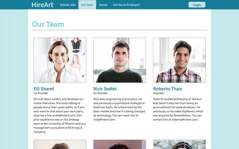 Screenshot of Team Page hireart.com - Our Team - HireArt - captured Sept. 16, 2014