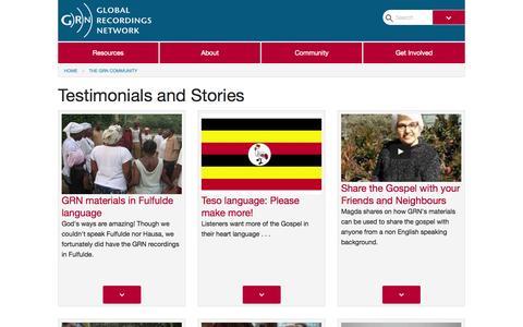 Screenshot of Testimonials Page globalrecordings.net - Testimonials and Stories - captured Nov. 2, 2015