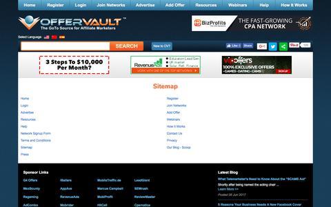 Screenshot of Site Map Page offervault.com - Offervault   Sitemap - captured June 11, 2017