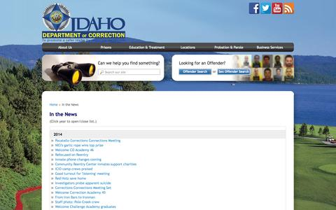 Screenshot of Press Page idaho.gov - In the News | Idaho Department of Correction - captured Sept. 18, 2014