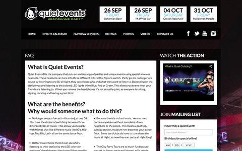 Screenshot of FAQ Page quietevents.com - Quiet Events | Quiet Clubbing | Silent Disco | Wireless Headphone Rentals & Events FAQ -  Quiet Events | Quiet Clubbing | Silent Disco | Wireless Headphone Rentals & Events - captured Sept. 23, 2014