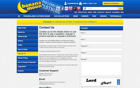 Screenshot of Contact Page banana-moon-clothing.co.uk - Contact Us to ask a question or request a product sample | Banana Moon - captured Sept. 19, 2014