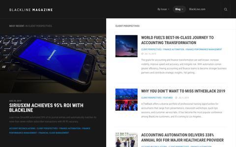 Screenshot of Case Studies Page blackline.com - Client Perspectives Archives | BlackLine Magazine - captured Nov. 29, 2019