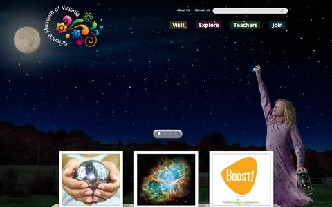 Screenshot of Home Page smv.org - Home | Science Museum of Virginia - captured Oct. 4, 2014