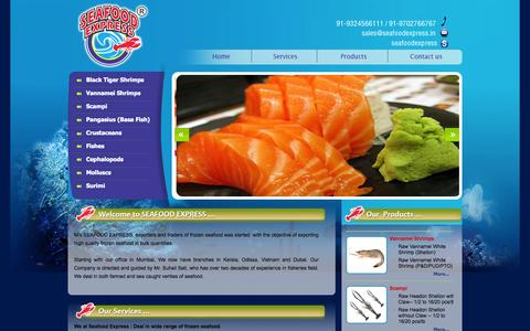 Screenshot of Home Page seafoodexpress.in - Seafood Exporters, Seafood Suppliers, Frozen Seafood Suppliers in Mumbai Seafood Express India, Asia - captured Sept. 30, 2014
