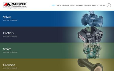 Screenshot of Home Page marspec.com - MARSPEC Technical Products - captured Sept. 6, 2015