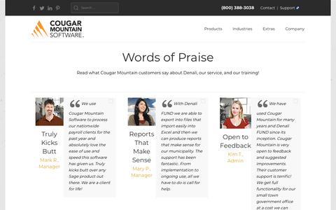 Screenshot of Testimonials Page cougarmtn.com - Testimonials - for Nonprofits and Small Business - captured Oct. 22, 2019
