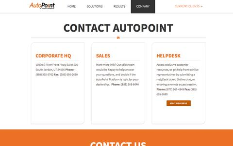 Screenshot of Contact Page autopoint.com - AutoPoint   –  Contact Temporary - captured Oct. 4, 2014