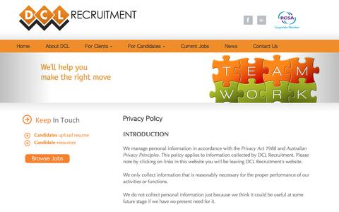 Screenshot of Privacy Page dclrecruitment.com.au - DCL Recruitment Agency Privacy Policy - captured June 3, 2017