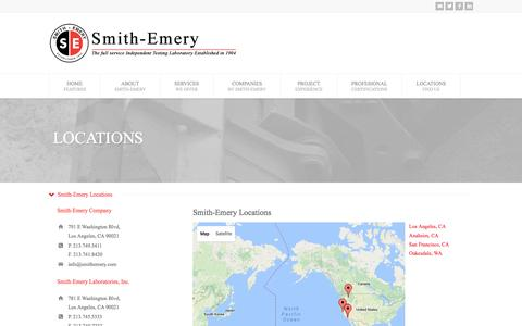 Screenshot of Contact Page Locations Page smithemery.com - Smith-Emery Companies - captured Nov. 30, 2016