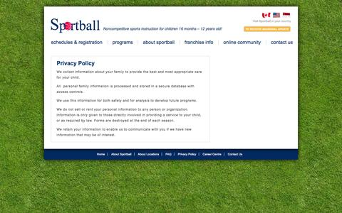 Screenshot of Privacy Page sportball.us - Privacy Policy - captured Sept. 30, 2014