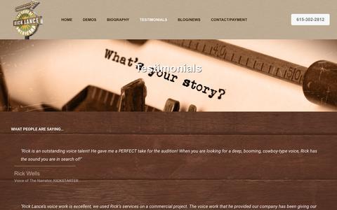Screenshot of Testimonials Page ricklancestudio.com - Testimonials - Rick Lance Studio - captured Sept. 21, 2018