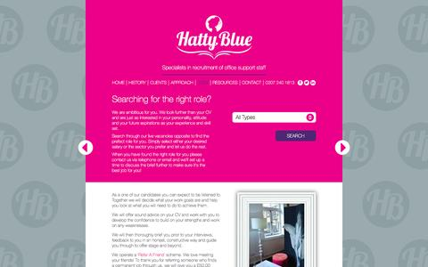 Screenshot of Jobs Page hattyblue.co.uk - Hatty Blue - support staff & media recruitment agency - Searching for the right role? - captured Dec. 7, 2015