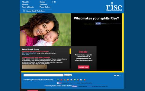 Screenshot of Home Page rise-community-services.org - Rise Community Services - captured Jan. 29, 2015