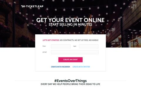 Screenshot of Landing Page ticketleap.com - Sell Tickets Online: Event Registration, Ticketing & Marketing - captured Oct. 27, 2014