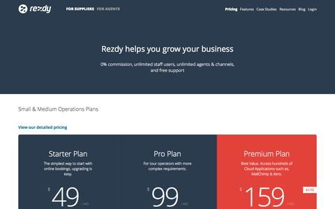 Screenshot of Pricing Page rezdy.com - Pricing : Rezdy - captured Oct. 31, 2014