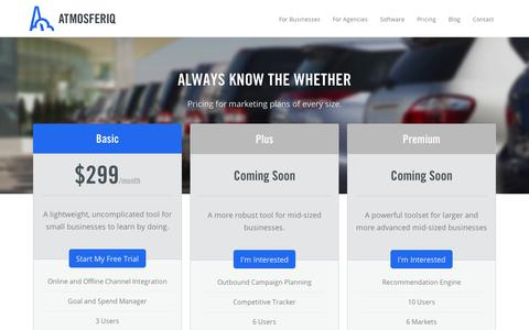 Screenshot of Pricing Page atmosferiq.com - Atmosferiq Pricing Packages - captured Sept. 11, 2014