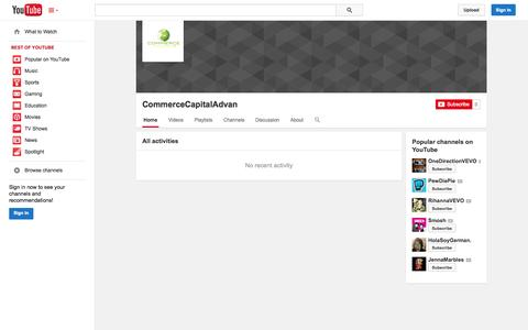 Screenshot of YouTube Page youtube.com - CommerceCapitalAdvan  - YouTube - captured Oct. 22, 2014