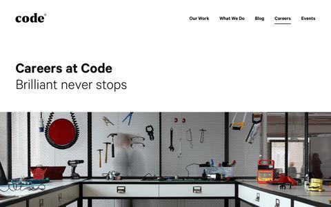 Screenshot of Jobs Page codecomputerlove.com - Careers & Jobs in Digital at Code Computerlove - captured July 10, 2017