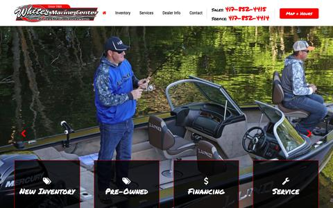 Screenshot of Home Page whitesmarinecenter.com - White's Marine Center - New & Used Boats, Service, and Parts near Pomme De Terre Lake, Lake of the Ozarks, Table Rock Lake, Truman Reservoir, and Stockton Lake - captured Nov. 17, 2018