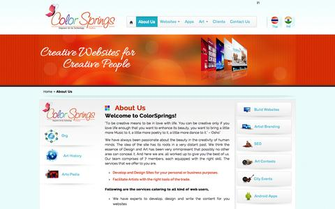 Screenshot of About Page colorsprings.in - Color Springs – Artist Ocean - captured Oct. 2, 2014