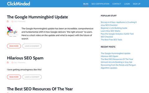 Screenshot of Blog clickminded.com - The ClickMinded SEO Blog - captured Oct. 30, 2014