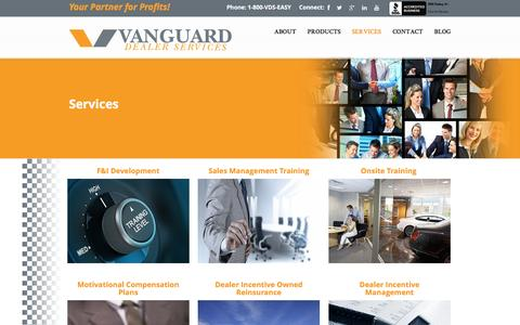 Screenshot of Services Page vanguarddealerservices.com - Automotive Dealer Consulting Services | Automotive Service Advisor - captured Jan. 26, 2016