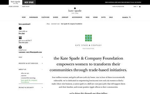 Screenshot of katespade.com - Kate Spade & Company Foundation - captured Aug. 25, 2017