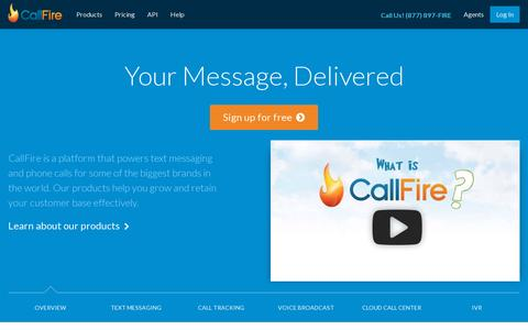 Screenshot of Home Page callfire.com - Phone Numbers, Voice Broadcasting & Auto Dialer Software | CallFire - captured July 11, 2014