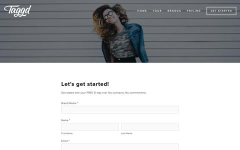 Screenshot of Trial Page taggd.co - Taggd | Customer Content Made Shoppable — Free Trial - captured Oct. 19, 2018