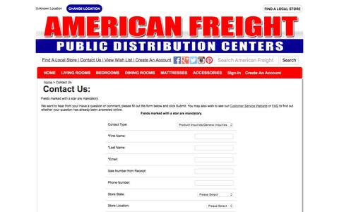 Screenshot of Contact Page americanfreight.us - Contact Customer Service |  				American Freight - captured Sept. 24, 2016