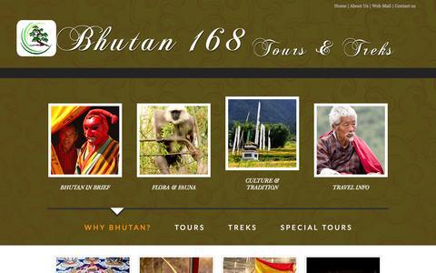 Screenshot of Home Page About Page bhutan168.com - Bhutan 168 Tours & Treks - captured Oct. 1, 2014