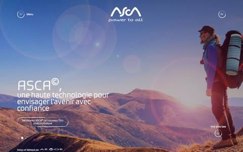 Screenshot of Home Page asca.com - ASCA© | Le nouveau film photovoltaïque transparent et souple - - captured July 8, 2018