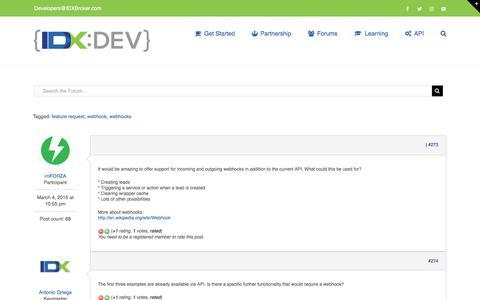 Screenshot of Support Page idxbroker.com - Request: Support for Webhooks – IDX Broker Developer - captured Aug. 11, 2017