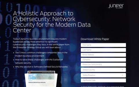 Screenshot of Landing Page juniper.net - Cybersecurity SDSN ESG   Juniper Networks - captured Sept. 7, 2017