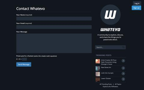 Screenshot of Contact Page whatevo.com - Contact Whatevo - captured Oct. 29, 2017