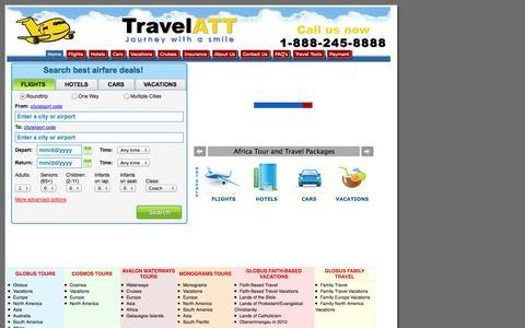 Screenshot of Home Page travelatt.com - Airline Tickets, Cheap Flights, Cheap Plane Tickets, Hotels, Car Rentals - TRAVELATT.COM - Airline Consolidator for Discount International Airfares, Cheap Flights and Ticket deals to Europe, Africa, Middle-East, Asia, Australia, New Zealand, South Am - captured Oct. 9, 2014