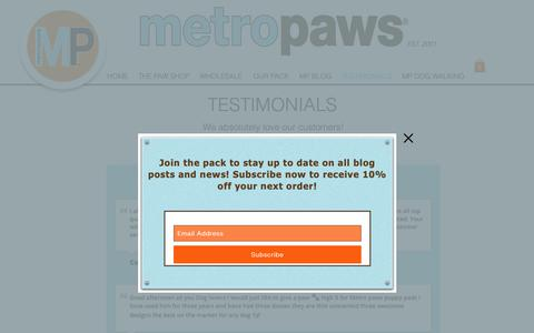 Screenshot of Testimonials Page metropaws.com - Metro Paws LLC | Pet Products | United States  | TESTIMONIALS - captured Oct. 18, 2018