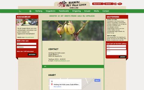 Screenshot of Contact Page hetvolleleven.com - Contact & route naar Herberg Het Volle Leven (B&B) Appelscha - captured Oct. 2, 2014